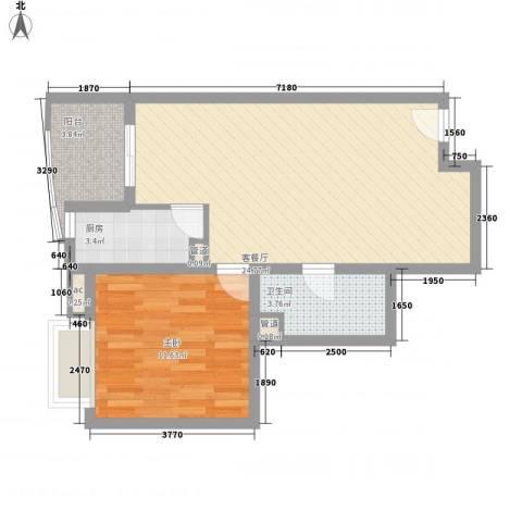 �泰大厦1室1厅1卫1厨69.00㎡户型图