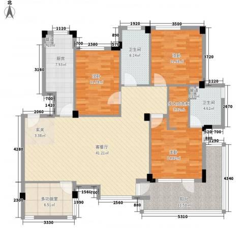 富民楼3室1厅2卫1厨164.00㎡户型图
