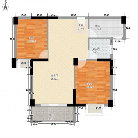 杏北新城锦园居住区2室1厅1卫1厨83.00㎡户型图