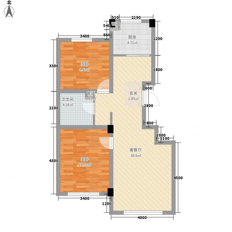 开世嘉年87.00㎡开世嘉年户型图19号楼B户型2室2厅1卫1厨户型2室2厅1卫1厨