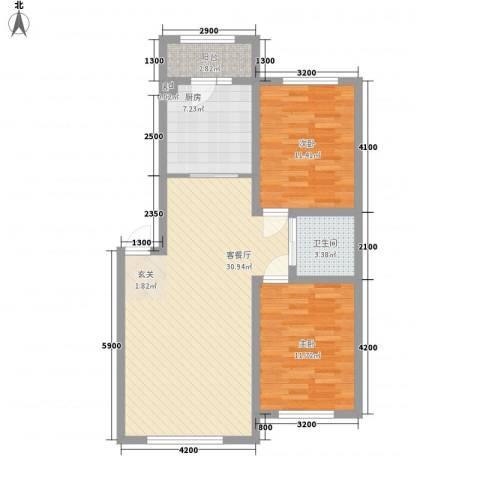 万龙名城2室1厅1卫1厨80.00㎡户型图
