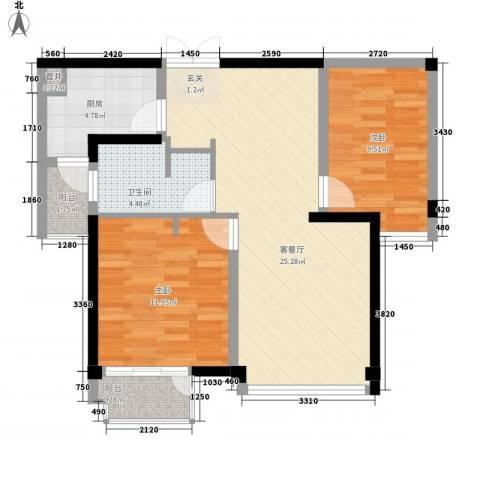 世纪东方商业广场2室1厅1卫1厨87.00㎡户型图