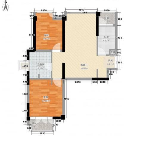 世纪东方商业广场2室1厅1卫1厨89.00㎡户型图