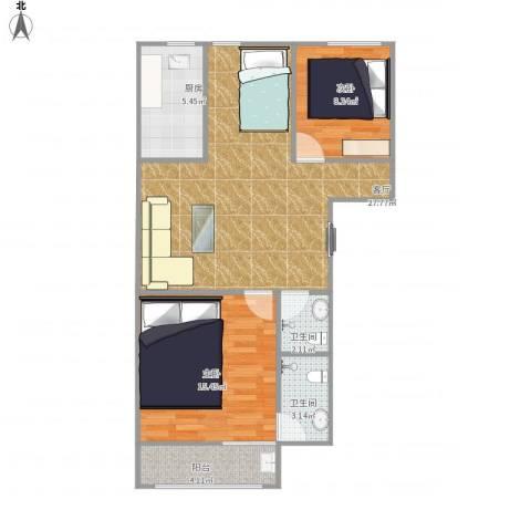 文博家园2室1厅2卫1厨90.00㎡户型图