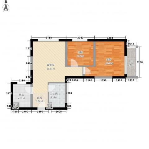 经发新北居2室1厅1卫1厨72.00㎡户型图