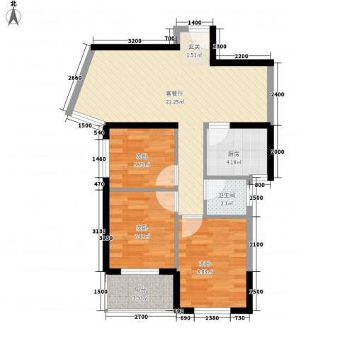 杏北新城锦园居住区3室1厅1卫1厨77.00㎡户型图