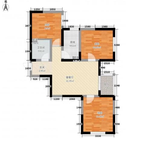 经发新北居3室1厅1卫1厨88.00㎡户型图