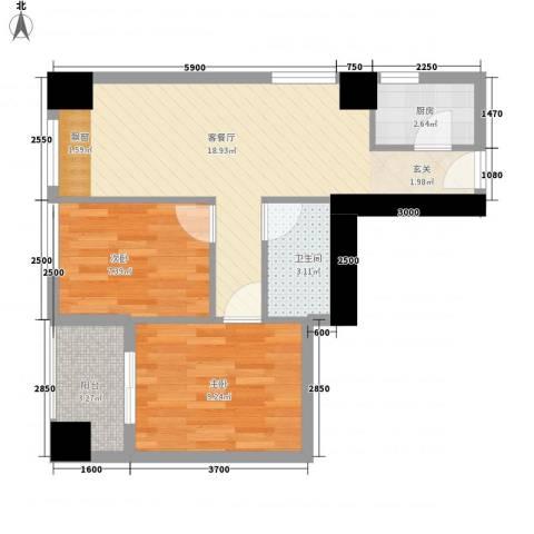 观音山公寓2室1厅1卫1厨66.00㎡户型图