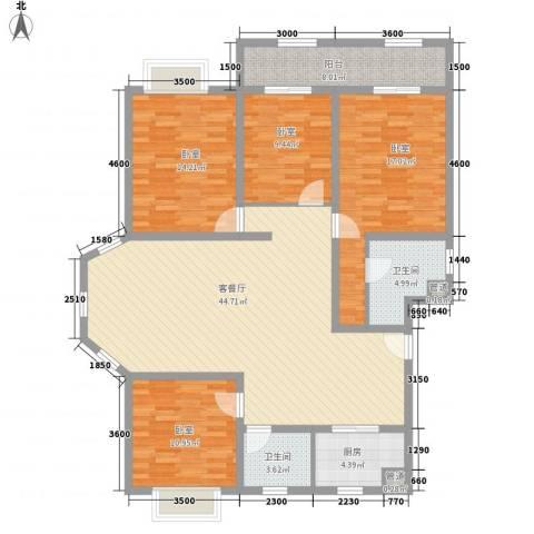 东方名城1厅2卫1厨168.00㎡户型图
