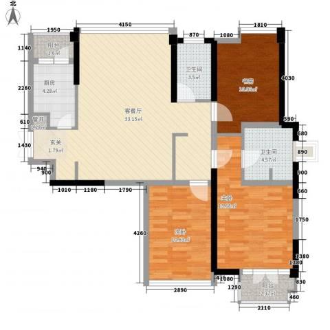 世纪东方商业广场3室1厅2卫1厨121.00㎡户型图