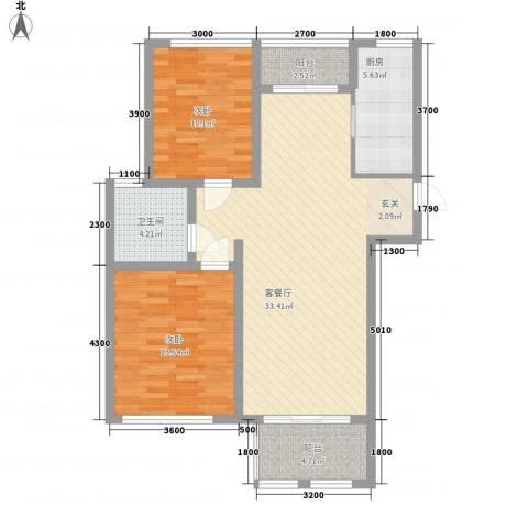 新新尚层2室1厅1卫1厨74.24㎡户型图
