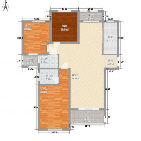 新新尚层3室1厅2卫1厨136.00㎡户型图