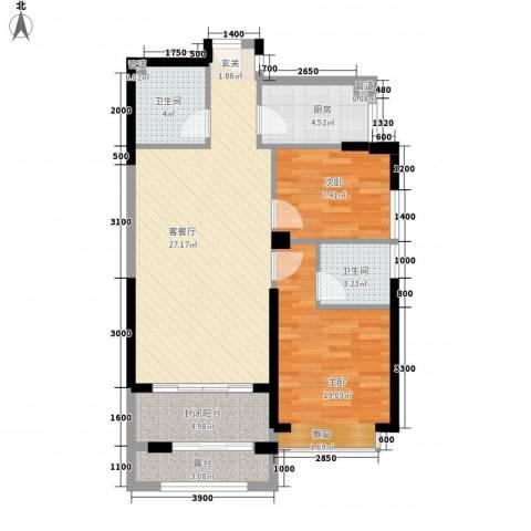 古龙商城2室1厅2卫1厨97.00㎡户型图