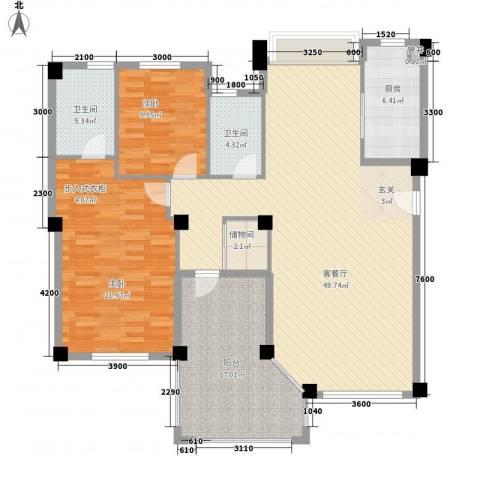 国贸金门湾2室1厅2卫1厨129.42㎡户型图