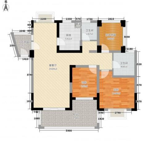 博鳌椰风海岸2室1厅2卫1厨112.00㎡户型图
