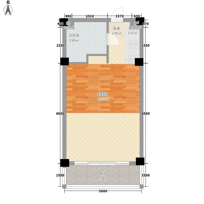 太阳山国际生态旅游养生休闲度假区62.00㎡晶岸度假公寓C2户型1室1厅1卫1厨
