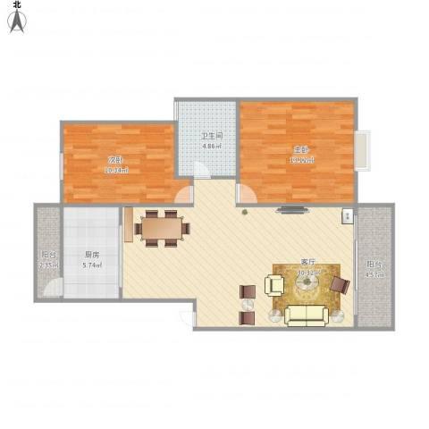 丰泽湖山庄2室1厅1卫1厨96.00㎡户型图