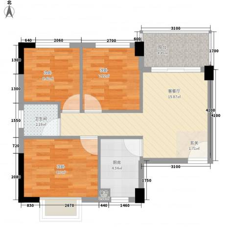 杏北新城锦园居住区3室1厅1卫1厨63.00㎡户型图