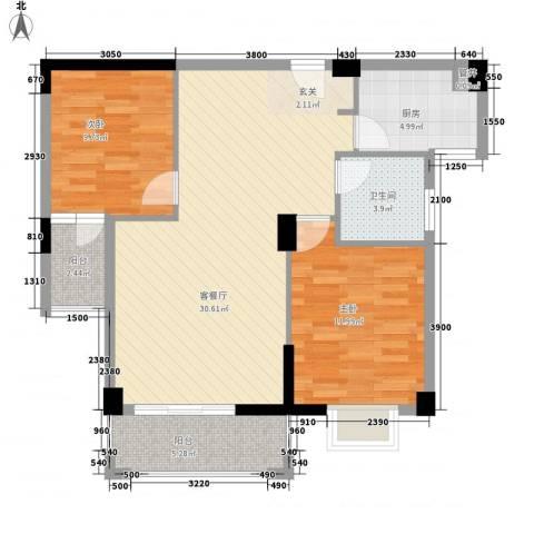 杏北新城锦园居住区2室1厅1卫1厨86.00㎡户型图