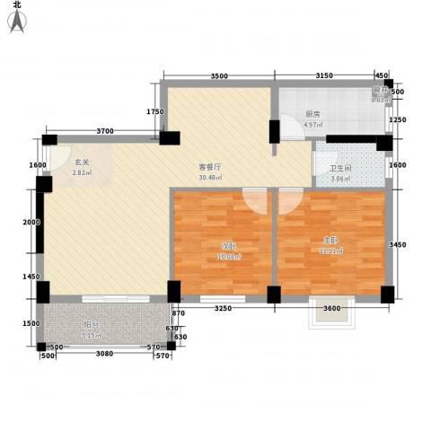 杏北新城锦园居住区2室1厅1卫1厨84.00㎡户型图
