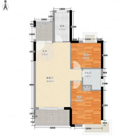 东方豪苑二期星钻2室1厅1卫1厨90.00㎡户型图