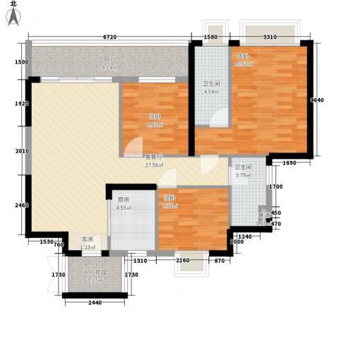 碧海蓝天三期3室1厅2卫1厨119.00㎡户型图