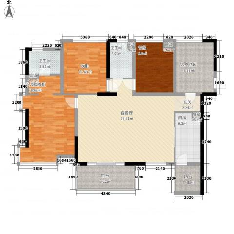彩虹新村3室1厅2卫1厨164.00㎡户型图