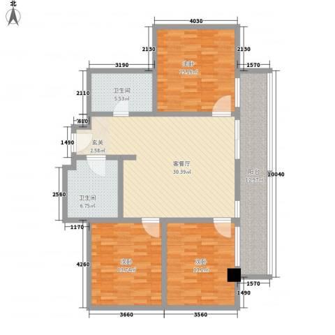 红树林度假世界3室1厅2卫0厨140.00㎡户型图
