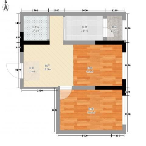 地铁名典小区1厅1卫1厨57.00㎡户型图