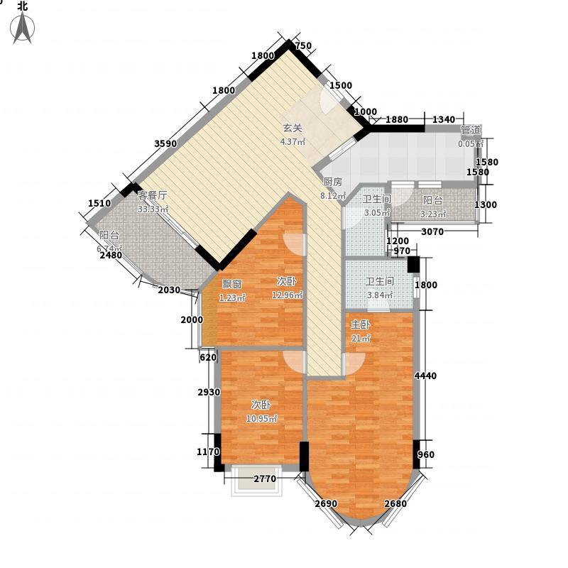 碧水湾124.47㎡第三座02、03单位(三-十)层平面图户型3室2厅2卫1厨