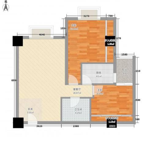 东岸未来城2室1厅1卫1厨88.00㎡户型图