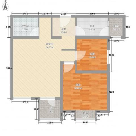 华鼎泰富公馆2室1厅1卫1厨76.30㎡户型图