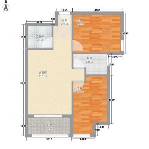 罗马花园2室1厅1卫1厨82.00㎡户型图