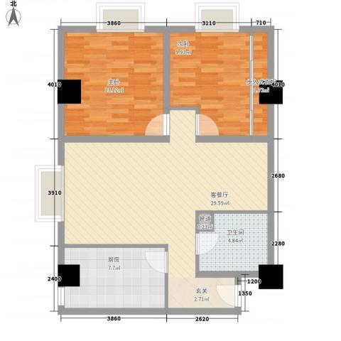 东岸未来城2室1厅1卫1厨97.00㎡户型图