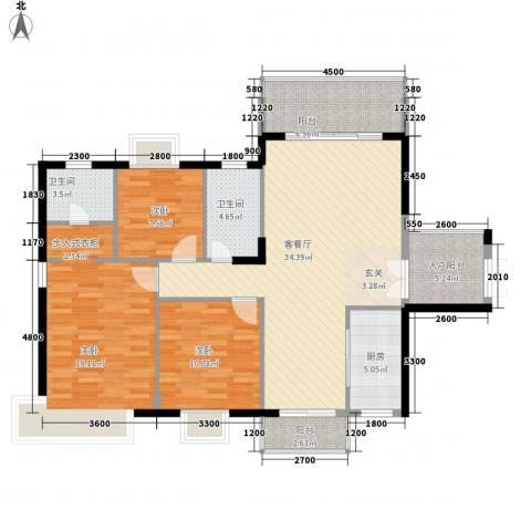 东方豪苑二期星钻3室1厅2卫1厨124.00㎡户型图