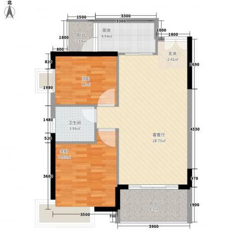 东方豪苑二期星钻2室1厅1卫1厨81.00㎡户型图