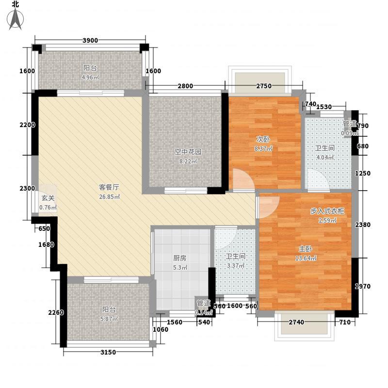 皇家公馆三期99.77㎡皇家公馆二期户型图13栋/15栋标准层A2户型2室2厅2卫1厨户型2室2厅2卫1厨