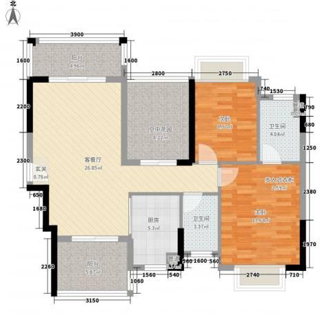 皇家公馆三期2室1厅2卫1厨100.00㎡户型图
