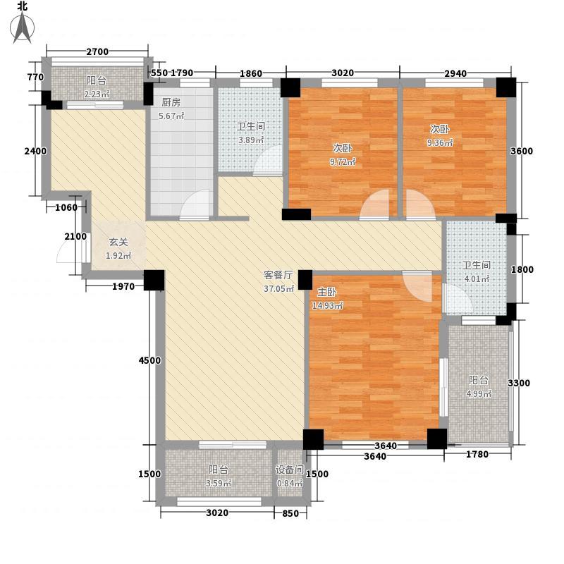 东辰壹号御景11.48㎡G栋1-11层G-3户型3室2厅2卫1厨