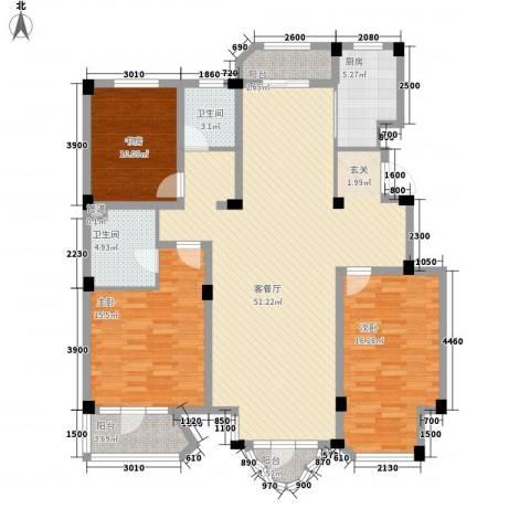 开世嘉年3室1厅2卫1厨147.00㎡户型图