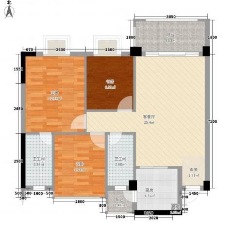 和丰明苑3室1厅2卫1厨103.00㎡户型图