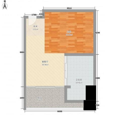 红树林度假世界1厅1卫0厨77.00㎡户型图
