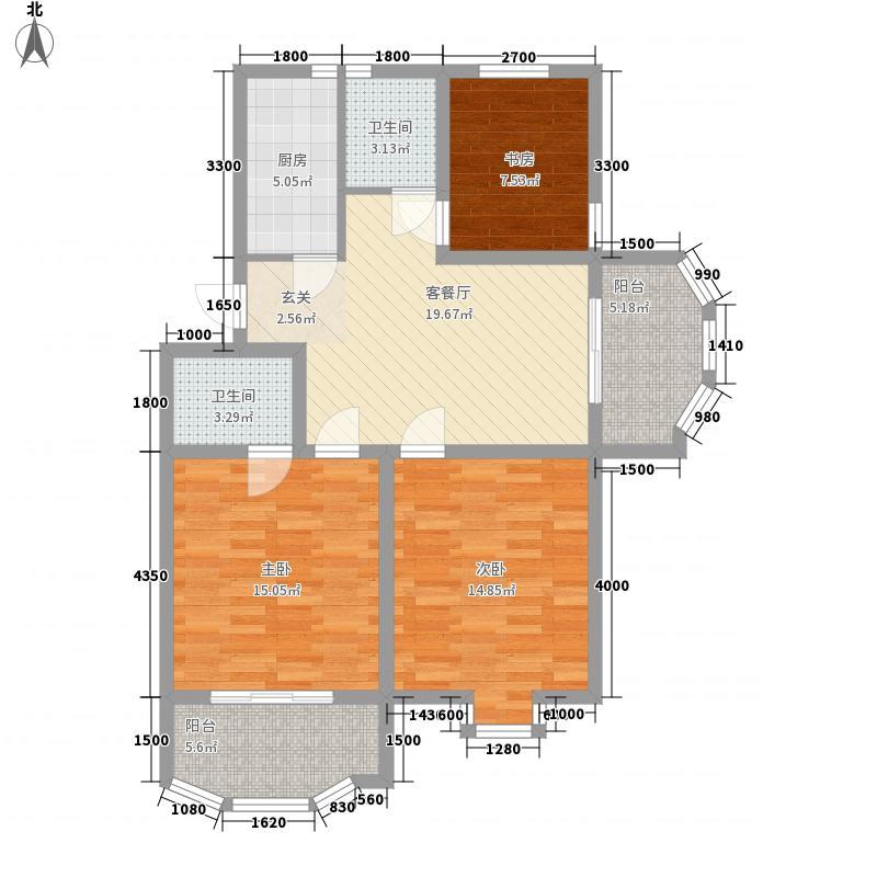 万山城市花园13.30㎡B2B户型3室1厅2卫1厨