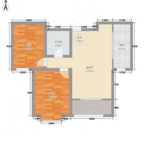 金厦龙第新城2室1厅1卫1厨92.00㎡户型图