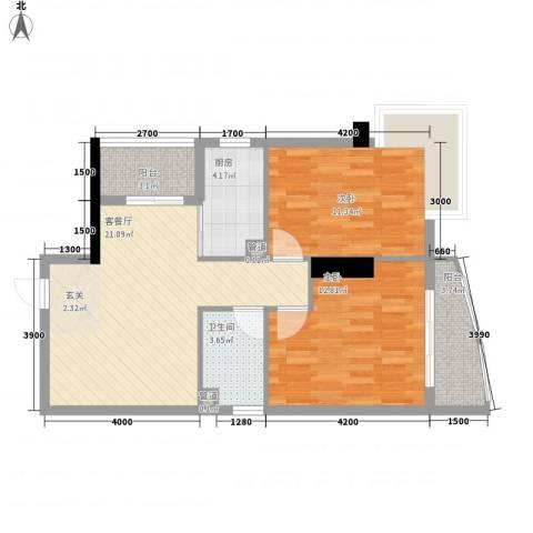 中强雅苑2室1厅1卫1厨80.00㎡户型图