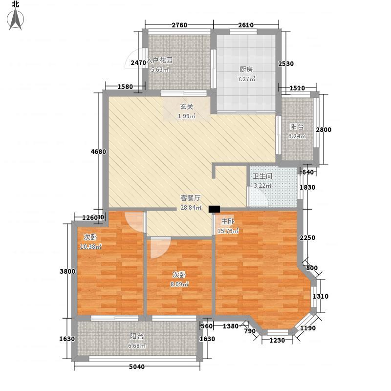金科华府127.00㎡高层A2标准层户型3室2厅1卫1厨