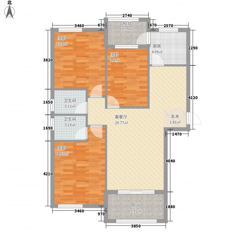 金科华府122.00㎡高层D1标准层户型3室2厅2卫1厨