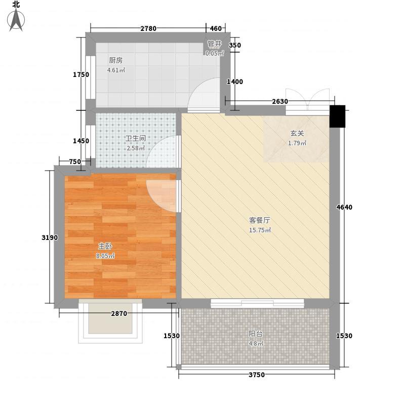九莲新苑51.20㎡B户型1室2厅1卫1厨