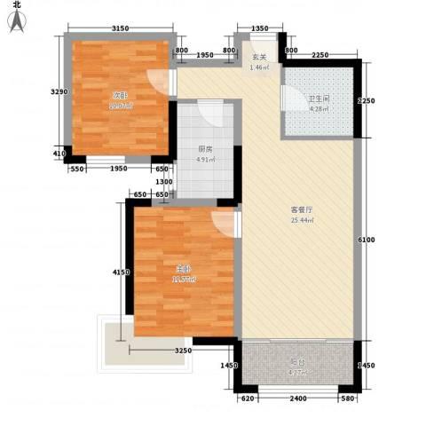金厦龙第新城2室1厅1卫1厨87.00㎡户型图