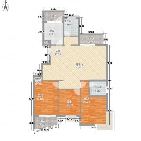 维科水岸心境3室1厅2卫1厨109.20㎡户型图